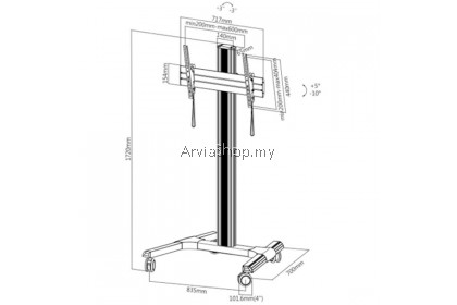 Brateck Portable Light Weight TV Stand Mount upto 37 inches-70 inches -  TS200-SVR