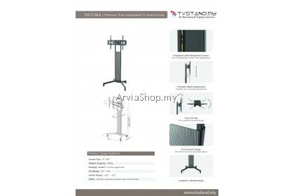 Premium Fully-Adjustable TV Stand Upto 37 inches-80 inches  - TS217-BLK
