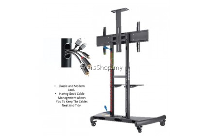 Kaloc Telescoping Sliding Height Adjustable Floor Stand TV Carts for 55 to 80 inch - SA80-T